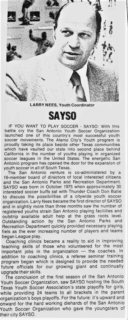 San Antonio Thunder youth coordinator Larry Nees